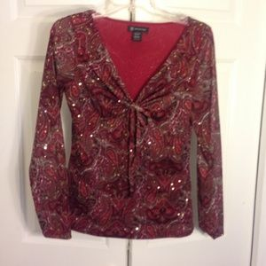 INC Red Long Sleeve top